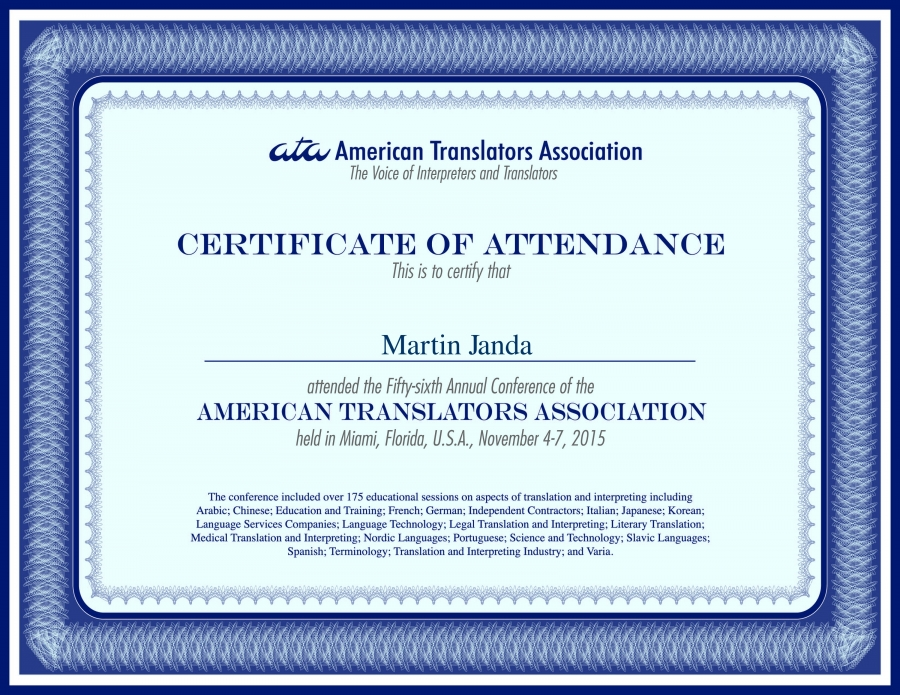 Testimonials & Certificates | Martin Janda - Translations Made Crisp ...